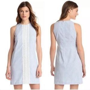 London Times SeerSucker White Blue Stripped Dress